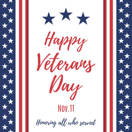 Happy Veterans Day background. Poster or brochure template. Vector Illustration