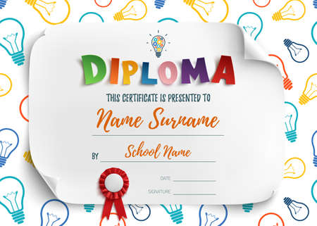Diploma template for kids school preschool playschool, certificate background. Illustration