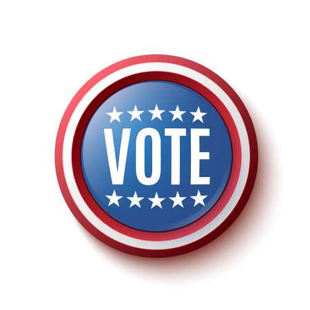 vote button: Vote button badge or banner. United States Election. Illustration