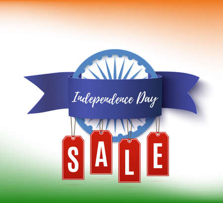 India Independence Day Sale. Poster or brochure template with blue ribbon and red price tags.