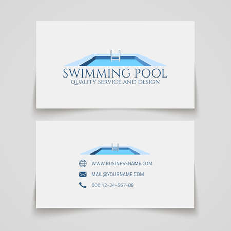 business service: Business card template. Swimming pool quality service and design.