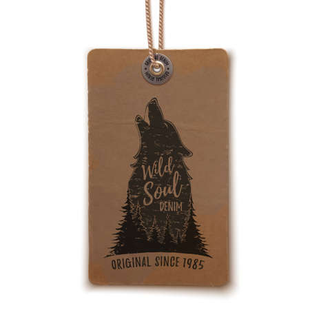 howl: Howling wolf in the forest template on realistic, vintage price tag isolated on white. Vector illustration.