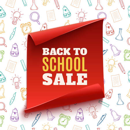Back to School Sale red banner on hand drawn colorful seamless pattern with school tools. Vector illustration. Illustration