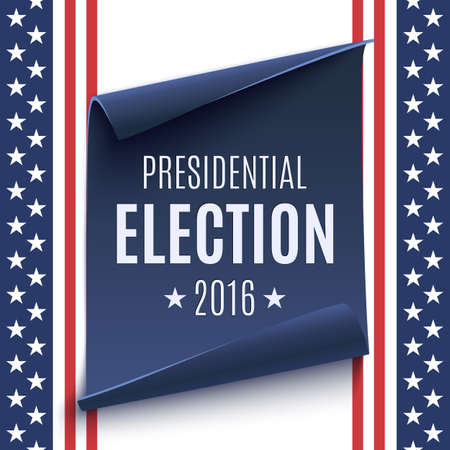 voter registration: Presidential Election 2016 background on american flag and blue, curved paper banner. Poster, brochure or flyer template. Vector illustration. Illustration