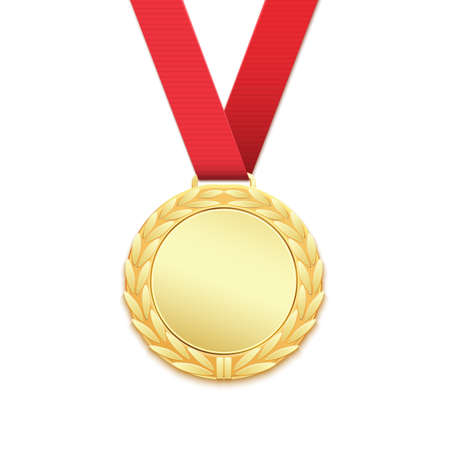medal: Gold medal, winners award isolated on white background. Vector illustration.
