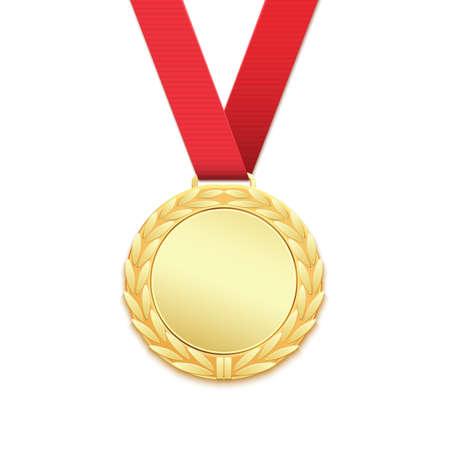icono deportes: medalla de oro, premios ganadores aislado sobre fondo blanco. Ilustración del vector. Vectores