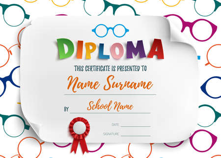 reading glasses: Diploma template for kids, school, preschool, playschool, certificate background wit colorful reading glasses. Vector illustration.