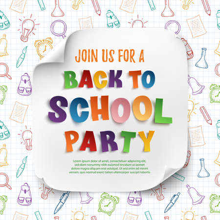 Back to school party poster template with confetti and colorful ribbons on squared paper an hand drawn school tools. Vector illustration.