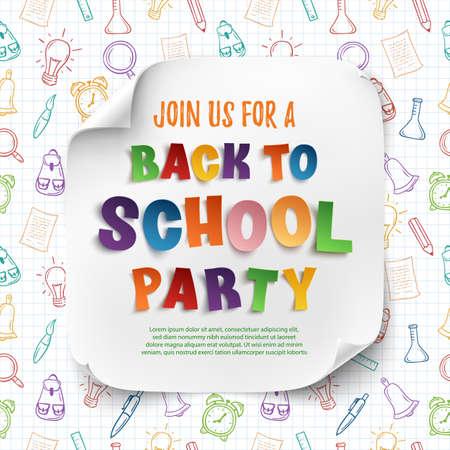 Volver a la plantilla del cartel fiesta de la escuela con confeti y cintas de colores sobre un papel cuadriculado dibujado a mano herramientas de la escuela. Ilustración del vector.