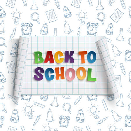 squared paper: Back to school curved banner on squared paper with hand drawn school tools. Vector illustration.