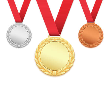 illustration isolated: Set of three medals isolated on white background. Gold, silver, bronze medallions. Vector illustration.