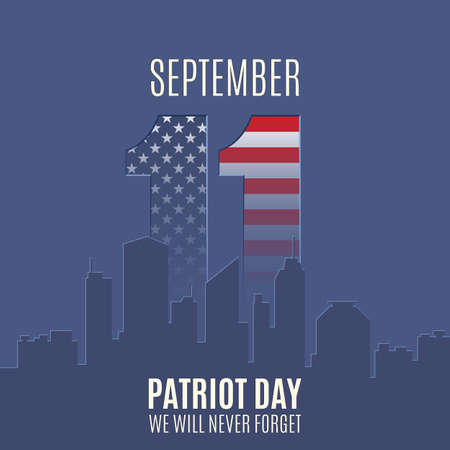 remembrance day: Patriot Day background with abstract city skyline. 11 September, National Day of Remembrance. Vector illustration. Illustration