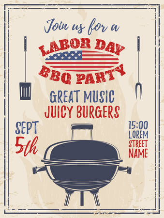 labor: Vintage Labor Day barbecue party background. Poster, brochure or flyer template. Vector illustration. Illustration
