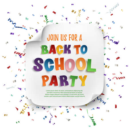 Back to school party poster template with confetti and colorful ribbons isolated on white background. Vector illustration.  イラスト・ベクター素材