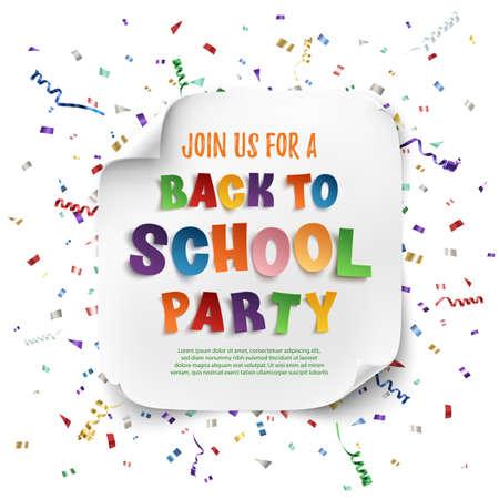 Ritorno a scuola poster modello partito con coriandoli e nastri colorati isolato su sfondo bianco. Illustrazione vettoriale. Vettoriali