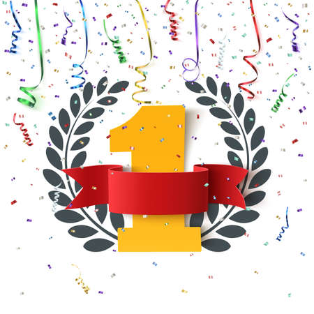Winner, number one background with blank, red ribbon, olive branch and confetti on white. Poster or brochure template. Vector illustration.