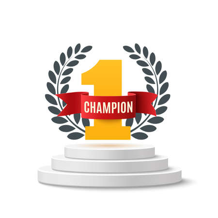 Champion, number one background with red ribbon and olive branch on round pedestal isolated on white. Poster or brochure template. Vector illustration. Vettoriali