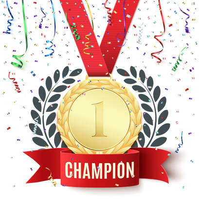 medal: Champion, winner, number one background with red ribbon, gold medal, olive branch and confetti on white. Poster or brochure template. Vector illustration.