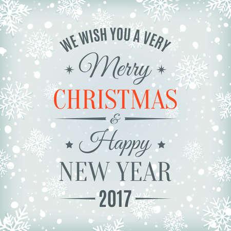 Feliz Navidad y Feliz Año Nuevo 2017 etiqueta de texto en un fondo de invierno con nieve y copos de nieve. Plantilla de tarjeta de felicitación. Ilustración del vector. Ilustración de vector