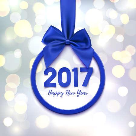 Felice Anno Nuovo 2017 bandiera rotonda con nastro e arco viola, su sfondo astratto con cerchi bokeh. Decorazione dell'albero di Natale. Cartolina d'auguri, modello poster o brochure. Illustrazione vettoriale.