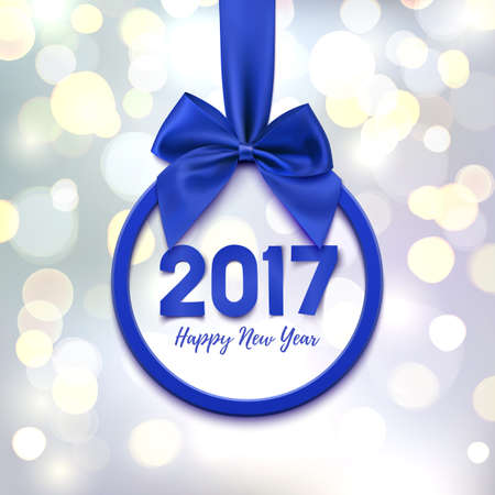 Happy New Year 2017 round banner with purple ribbon and bow, on abstract background with bokeh circles. Christmas tree decoration. Greeting card, poster or brochure template. Vector illustration.