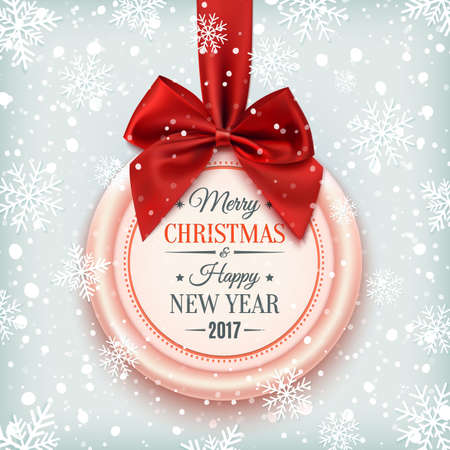 red and white: Merry Christmas and Happy New Year 2017 badge, with red ribbon and bow on winter background with snow and snowflakes. Vector illustration.