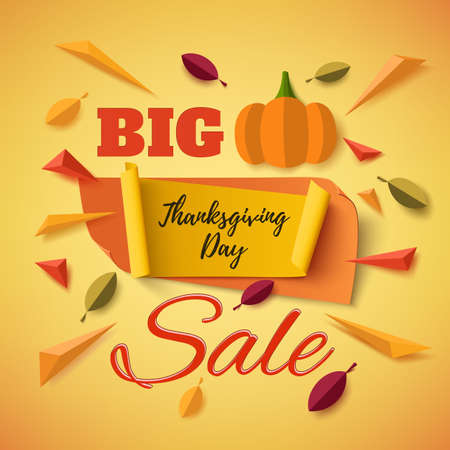 leafs: Big Thanksgiving Day sale banner with abstract pumpkin, leafs and colorful particles on orange background. Vector illustration.