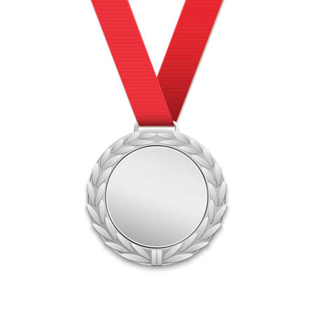 medal: Silver medal, winners award isolated on white background. Vector illustration. Illustration