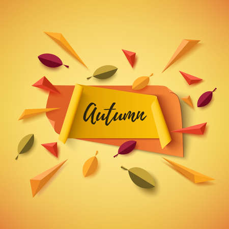 Autumn banner with abstract leafs and colorful particles on orange background. Vector illustration.