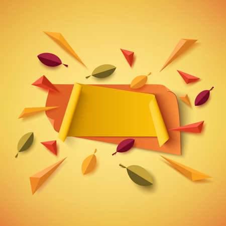 Blank yellow and orange autumn banner with abstract leafs and colorful parti les isolated on white background. Vector illustration. Illustration