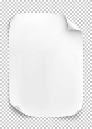 peeling corner: White sheet of paper on transparent background. Vector illustration. Illustration