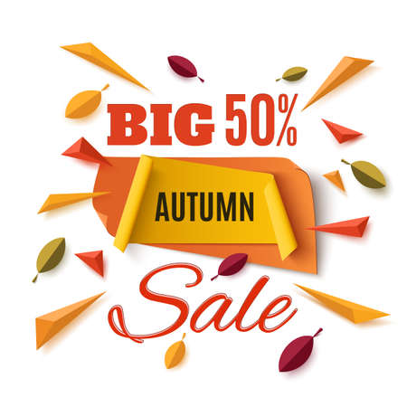 big leafs: Big autumn sale banner with abstract leafs and colorful particles isolated on white background. Vector illustration.