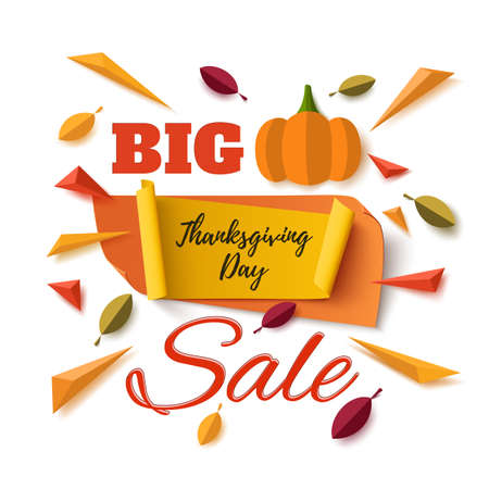 leafs: Big Thanksgiving Day sale banner with abstract pumpkin, leafs and colorful particles isolated on white background. Vector illustration.