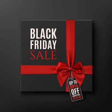 ruban noir: Black Friday Vente de fond conceptuel. coffret cadeau noir avec ruban rouge. Vector illustration.