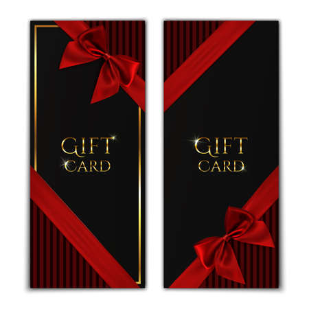 Gift Card Black Gift Voucher Templates With Red Ribbon And A