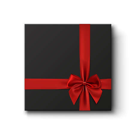 black and red: Blank black gift box with red ribbon isolated on white background. Vector illustration.