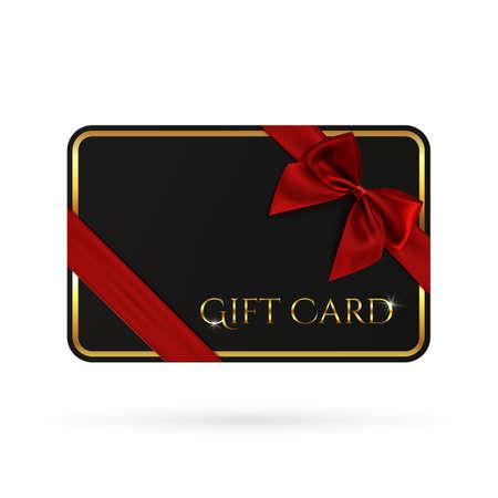 plantilla de tarjeta de regalo negro con cinta roja y un arco. bono perfecto. Ilustración del vector.