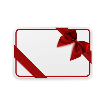 gift ribbon: White blank gift card template with red ribbon and a bow. Vector illustration.