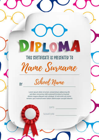 playschool: Diploma template for kids, school, preschool, playschool, certificate background wit colorful reading glasses. Vector illustration.