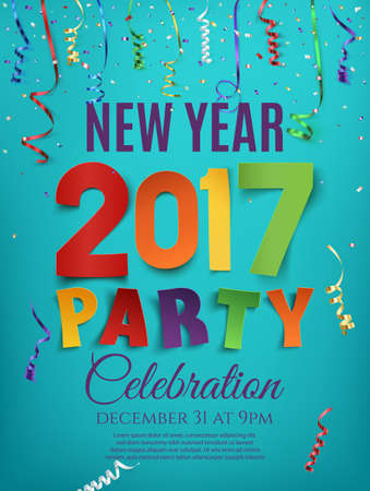 new year poster: New Year 2017 party poster template with confetti and colorful ribbons on blue background. Vector illustration.