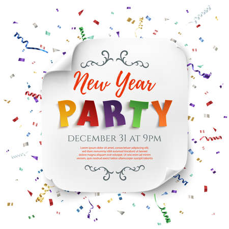 curved: New Year party poster template with ribbons and confetti isolated on white background. White, curved, paper banner. Vector illustration. Illustration