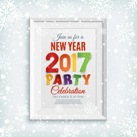 white picture frame: New Year party poster template with snow and snowflakes. Winter background. White picture frame.  Vector illustration. Illustration
