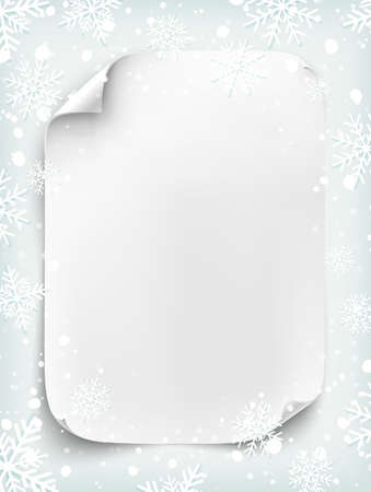 scroll frame: Blank white sheet of paper on winter background with snow and snowflakes. New Year, Christmas party poster or Santa letter template.  Curved, paper banner, scroll.  Vector illustration.