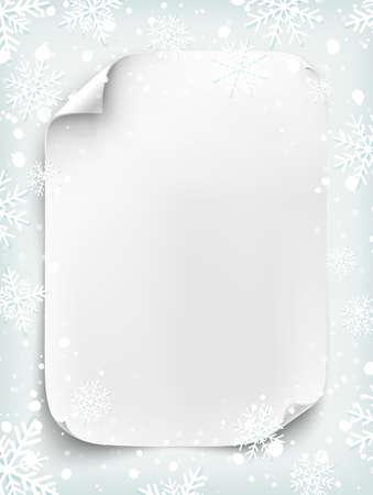 hoja blanca de papel en blanco sobre fondo de invierno con la nieve y los copos de nieve. Año Nuevo, Navidad o cartel del partido plantilla de carta de Santa Claus. Curvada, la bandera de papel, pergamino. Ilustración del vector.