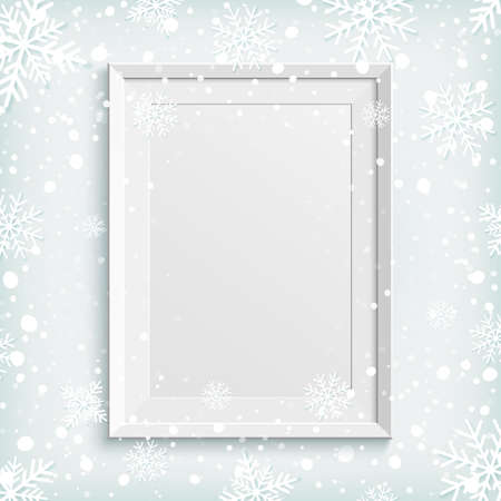 picture card: White picture frame on winter background with snow and snowflakes. Template for greeting card, poster or brochure. Vector illustration.