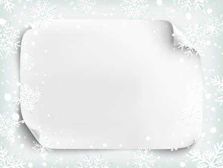 bordure de page: Blank white sheet of paper on winter background with snow and snowflakes. Brochure, flyer or poster template. Vector illustration. Illustration
