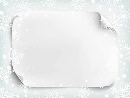 bordure de page: feuille de papier blanc sur fond d'hiver avec la neige et les flocons de neige. Brochure, dépliant ou modèle d'affiche. Vector illustration.