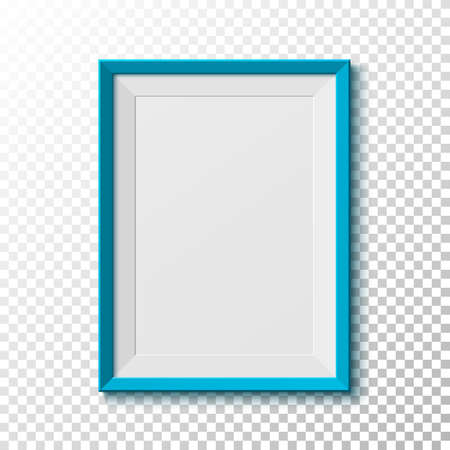 wood frame: Blue, blank picture  frame isolated on transparent background. Vector illustration.