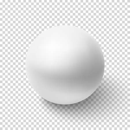 Realistic white sphere isolated on transparent background. Vector illustration. Vectores