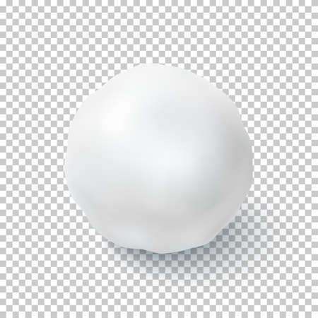 リアルな雪のボールが透明な背景に分離されました。ベクトルの図。
